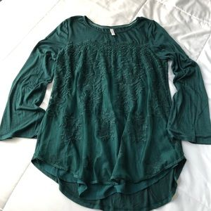 Xhilaration Lace Emerald Green Blouse